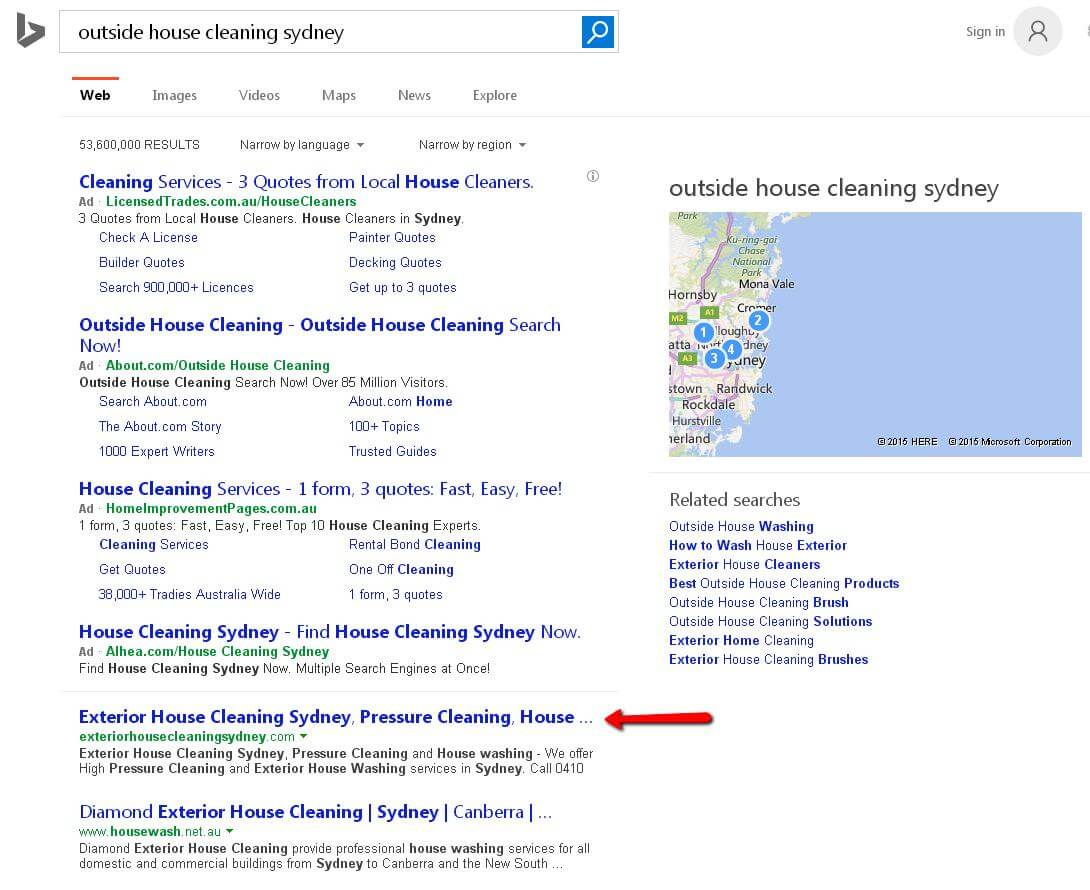 web design project exterior house cleaning toni larsen ehcs bserp results ohcs thumbnail